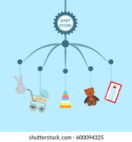 Baby store banner with child toys vector illustration. Kids market retail poster in flat design. Stroller, baby care product, accessories for newborn, boy and girl toy, children bottle isolated.