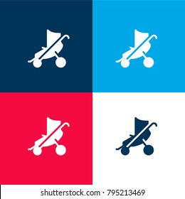 Baby stroller four color material and minimal icon logo set in red and blue