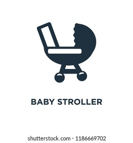 Baby stroller icon. Black filled vector illustration. Baby stroller symbol on white background. Can be used in web and mobile.