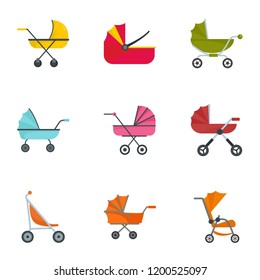 Baby stroller icon set. Flat set of 9 baby stroller vector icons for web design
