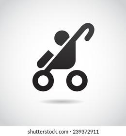 Baby stroller icon. Vector icon.