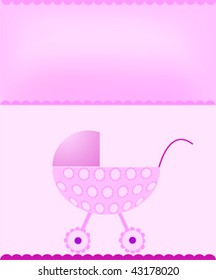 Baby stroller on pink background with space for text
