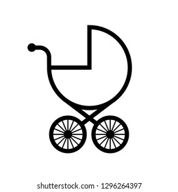 Baby stroller vector icon on white background