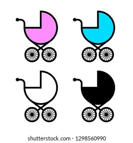 Baby stroller vector icons on white background
