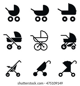 Baby stroller vector icons. Simple illustration set of 9 baby stroller elements, editable icons, can be used in logo, UI and web design