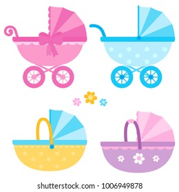 Baby strollers in blue, yellow and pink colors. Vector collection