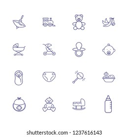 Baby stuff icons. Set of line icons. Care, newborn, infant. Childhood concept. Vector illustration can be used for topics like nursery, kindergarten, innocence