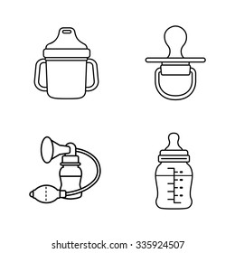 Baby stuff outlines vector icons