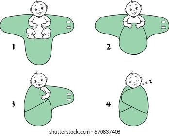 Baby swaddle blanket. Instructions for use. Vector