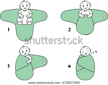 Baby Swaddle Blanket Instructions Use Vector Stock Vector Royalty