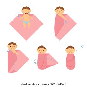 Baby swaddle. How to make a diaper for the baby. Taking care of infant. Method to calm the child. Make a bundle