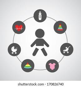 baby symbol set in circle diagram