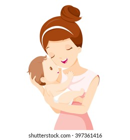 Baby In A Tender Embrace Of Mother, Mother's day, Infant, Motherhood, Love, Innocence