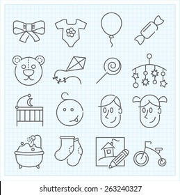 Baby thin line icons for web interface and applications