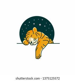 baby tiger sleeping logo template
