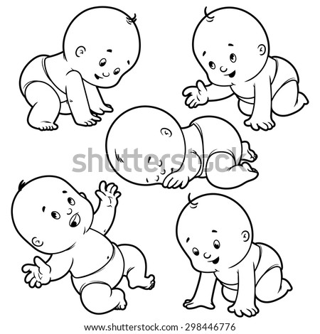 Baby Toddler Set Babies Diapers Crawling Stock Vector Royalty Free