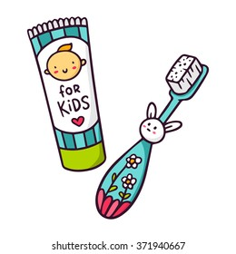 Baby toothpaste and toothbrush for kids, bright vector children illustration of toiletries isolated on white