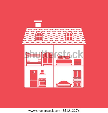 Baby Toy Dollhouse Flat Icon On Stock Vector Royalty Free