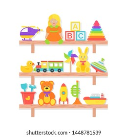 Baby toy on shelf. Vector. Set kids toys. Baby stuff on wooden rack isolated. Colorful cartoon illustration. Collection children icons in flat design on white background.