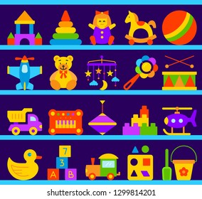 Baby Toy on wood shop shelves simple flat cartoon style set. Kids Game sign collection includes bear, ball, horse. Children play colorful icon kit for fun activity. Color symbol Vector Illustration