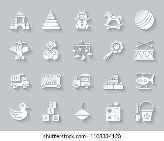 Baby Toy paper cut art icons set. Web sign kit of children play. Kids Game pictogram collection includes shovel, bucket, scoop. Simple baby toy vector paper carved icon shape. Material design symbol