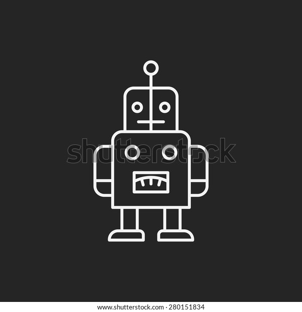 baby toy robot line icon
