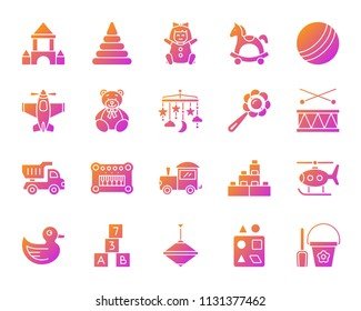 Baby toy silhouette icons set. Sign kit of children play isolated on white. Kids game pictogram collection includes ball, plane, teddy bear. Modern simple contour symbol. Baby toys vector icon shape