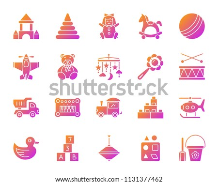 Baby Toy Silhouette Icons Set Sign Stock Vector Royalty Free