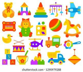 Baby Toy simple flat cartoon style set. Kids Game sign collection includes bear, ball, horse. Children play colorful icon kit for fun and activity. Color symbol isolated on white. Vector Illustration