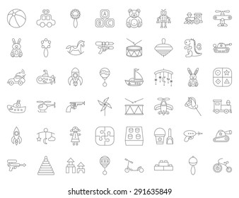 Baby toy thin line flat vector related icon set for web and mobile applications. It can be used as - logo, pictogram, icon, infographic element. Vector Illustration.
