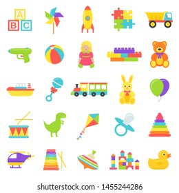 Baby toy. Vector. Kids toys isolated. Set cute baby shower stuff in flat design on white background. Colorful cartoon illustration. Collection children icons.