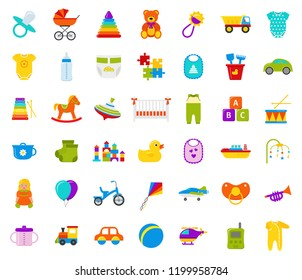 Baby toy. Vector. Set kids toys. Baby shower stuff in flat design isolated on white background. Colorful cartoon illustration with drum, bottle, teddy bear, car, horse, bib, pacifier, duck, bodysuit.