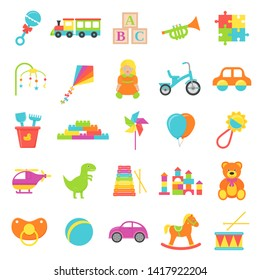 Baby toy. Vector. Set kids toys isolated. Baby shower stuff in flat design on white background. Colorful cartoon illustration. Collection children icons