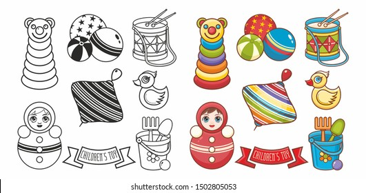 Baby toy.Roly Poly tumbler doll, Whirligig Humming top whirlabout Peg toy, top toy,yellow duck,pyramid, drum, kids play balls - Set toys.Children's toy. Design elements. illustration for coloring book