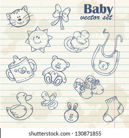 Baby toys cute cartoon set on notepaper grunge paper sheet background