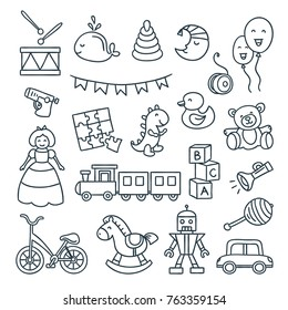 Baby toys cute vector illustrations. Set of hand drawn icons for children
