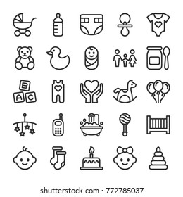 Baby toys, feeding and care icons set. Line style