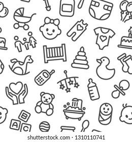 Baby toys, feeding and care - Seamless pattern