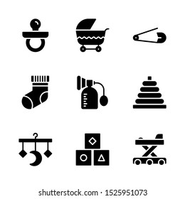 Baby Toys Icon Set Including Pacifier, Stroller, Safety Pin, Socks, Breast Pump, Ring Stacker, Crib Mobile, Blocks and Baby Walker