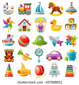 Baby toys icon set: palette, train, yaht, horse, whirligig, mill, toy house, dall, duck, baby block, boat, UFO, plane, puzzle, teddy bear, trumpet, car, pyramid, submarine,  robot, xylophone