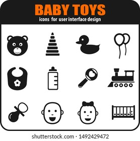 Baby toys icon set for your design. vector icons