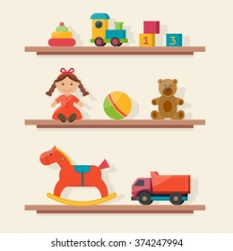 Baby toys icons on shelf. Flat style vector illustration.