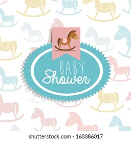 baby toys over pattern background vector illustration