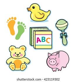Baby toys rubber ducky rattle teddy bear piggy bank