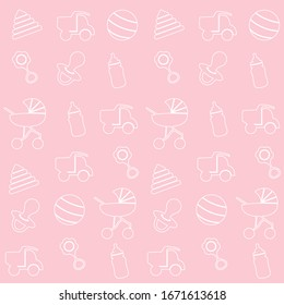 Baby toys seamless pattern. Seamless Baby Background. Icons set. Newborn baby vector collection. baby care
