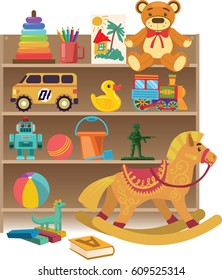 Baby toys set on white isolated background, kindergarten. Vector illustration