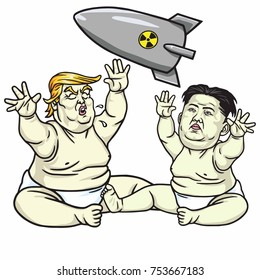 Baby Trump Playing with Kim Jong-un. Cartoon Illustration. November 13, 2017