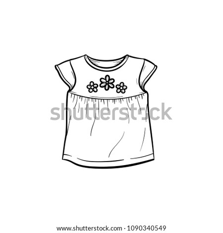 dea380aa6 Baby Tshirt Flowers Hand Drawn Outline Stock Vector (Royalty Free ...