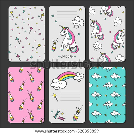 Baby Unicorn Tags Baby Banners Scrapbook Stock Vector Royalty Free