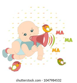 The baby utters the first words. The syllables are ma ma ma. In the hand of the child there is a horn. Birds are nearby.
